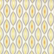 Moda Sunnyside, Kate Spain - 2852 - Yellow/Grey Oval Geometricpattern on White - 100% Cotton Fabric